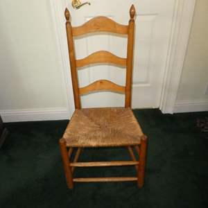Lot # 216 - Vintage Ladder Back Chair w/ Rush Seat