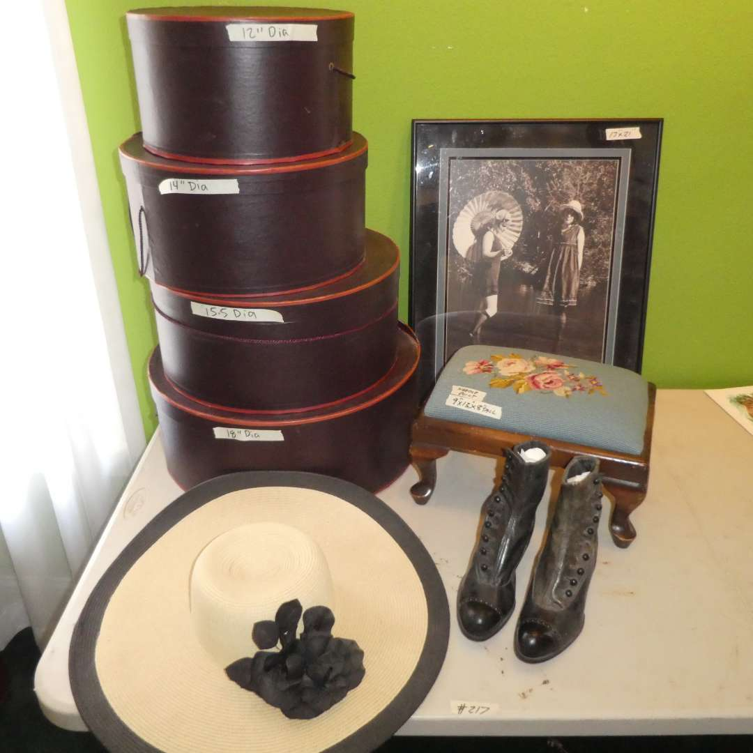 Lot # 217 - Cute Framed Vintage Photo, Vintage Boots, Hat Boxes and Vintage Needle Point Stool (main image)