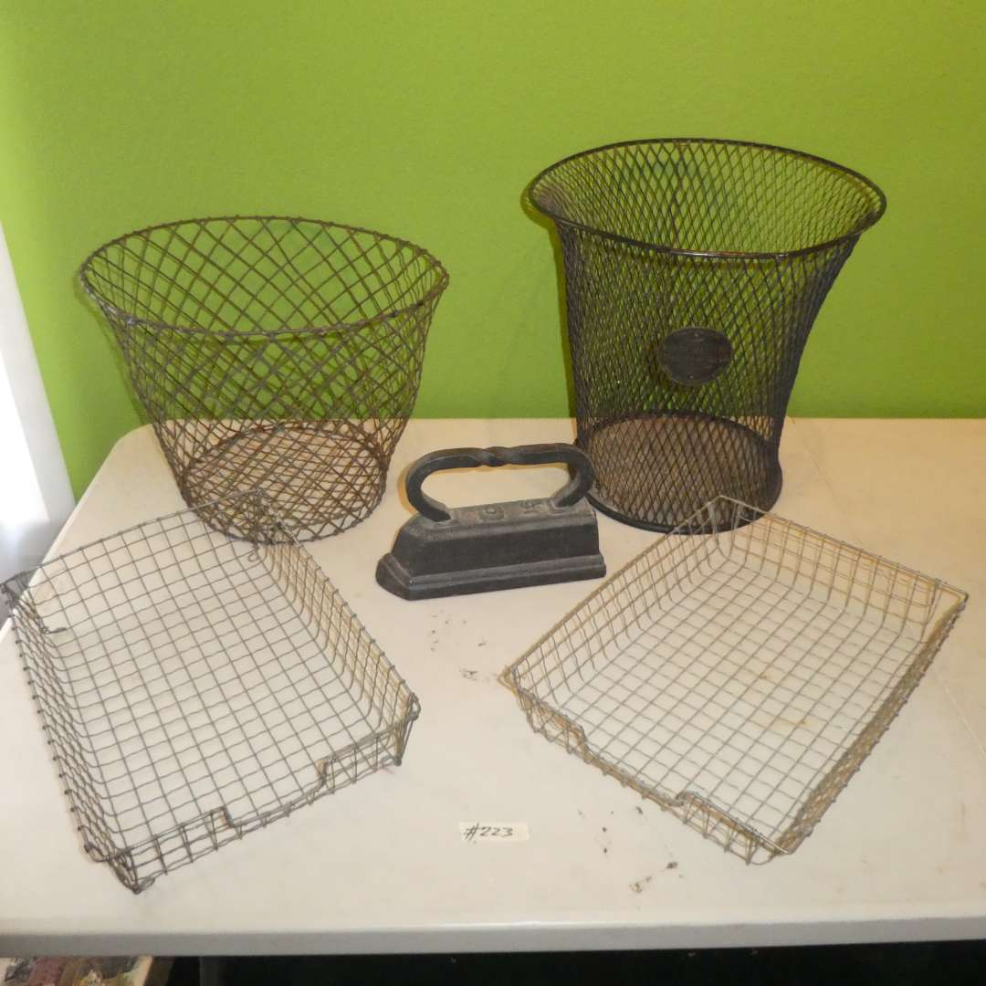 Lot # 223 - Vintage Metal Waste Baskets, Paper Baskets and Cast Iron Iron (main image)
