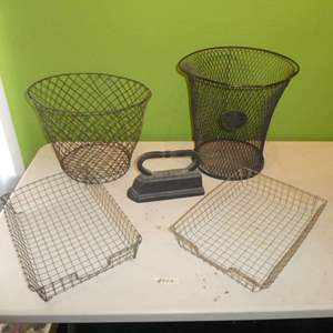 Lot # 223 - Vintage Metal Waste Baskets, Paper Baskets and Cast Iron Iron