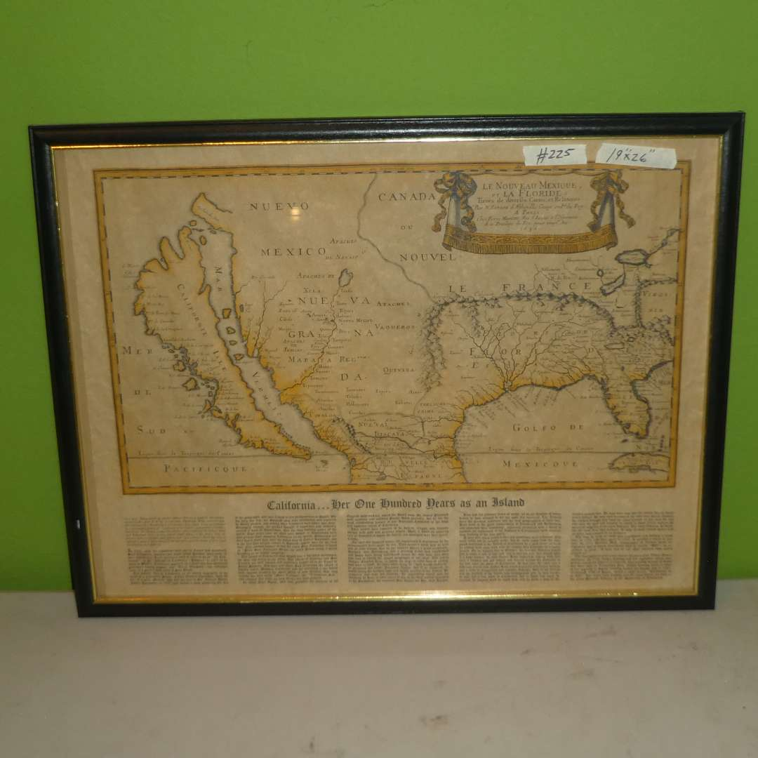 """Lot # 225 - Old California/ North America Map """"California.. Her 100 Years as an Island"""" (main image)"""