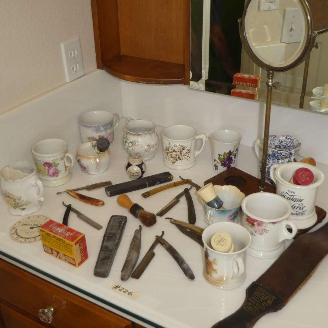 Lot # 226 - Variety of Vintage/ Antique Shaving Cups, Razors and Brushes w/ Mirror (main image)