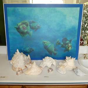 Lot # 227 - Original Oil on Canvas and a Variety of Shells