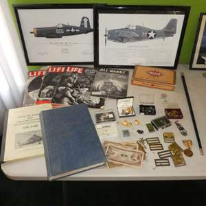 Lot # 233 -Vintage War Life Magazines, Naval Air Memorabilia, Aircraft Prints, Foreign Currency, Military Pins/cuff links & More