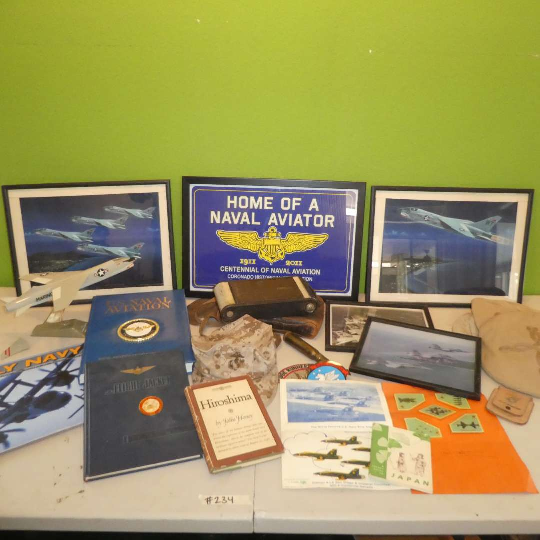 Lot # 234 -U.S. Naval Aviation/ Marine Memorabilia Lot- Aviation Prints, Books, Pins, Hats and Vintage 3.A Kodak Jr. Camera