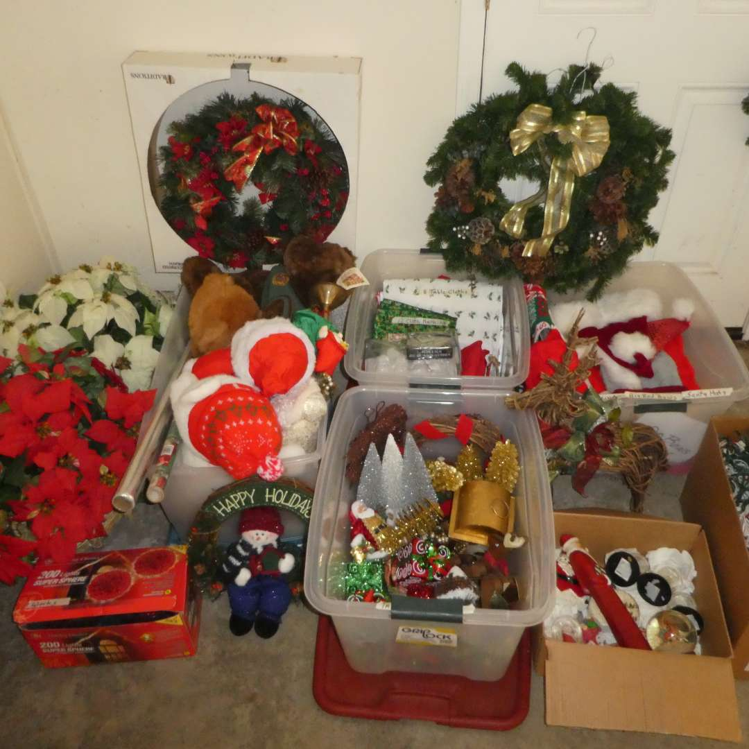 Lot # 494 - Huge Christmas Lot---(Wreathes, Lights, Snow Globes, Stockings, Santa Hats, Figurings, Plush Stuff Bears and More) (main image)