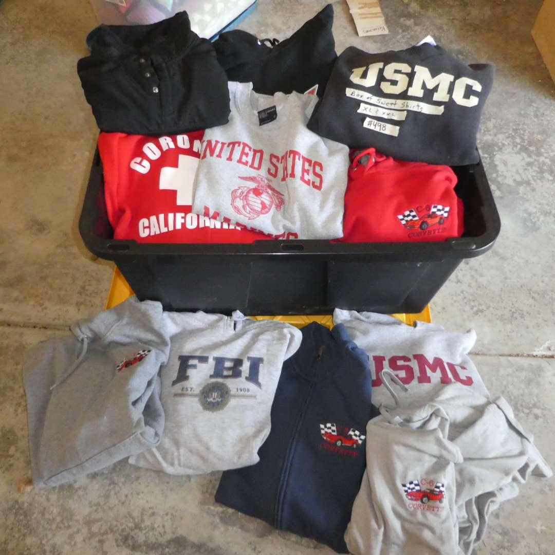 Lot # 498 - Box Full Of a Variety Of Mens Sweat Shirts (Size XL-XXL)