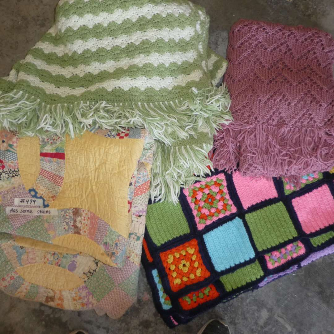 Lot # 499 - Three Crochet Blankets and Nice Vintage Quit (w/ some stains)(See all Photos) (main image)