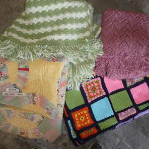 Lot # 499 - Three Crochet Blankets and Nice Vintage Quit (w/ some stains)(See all Photos)