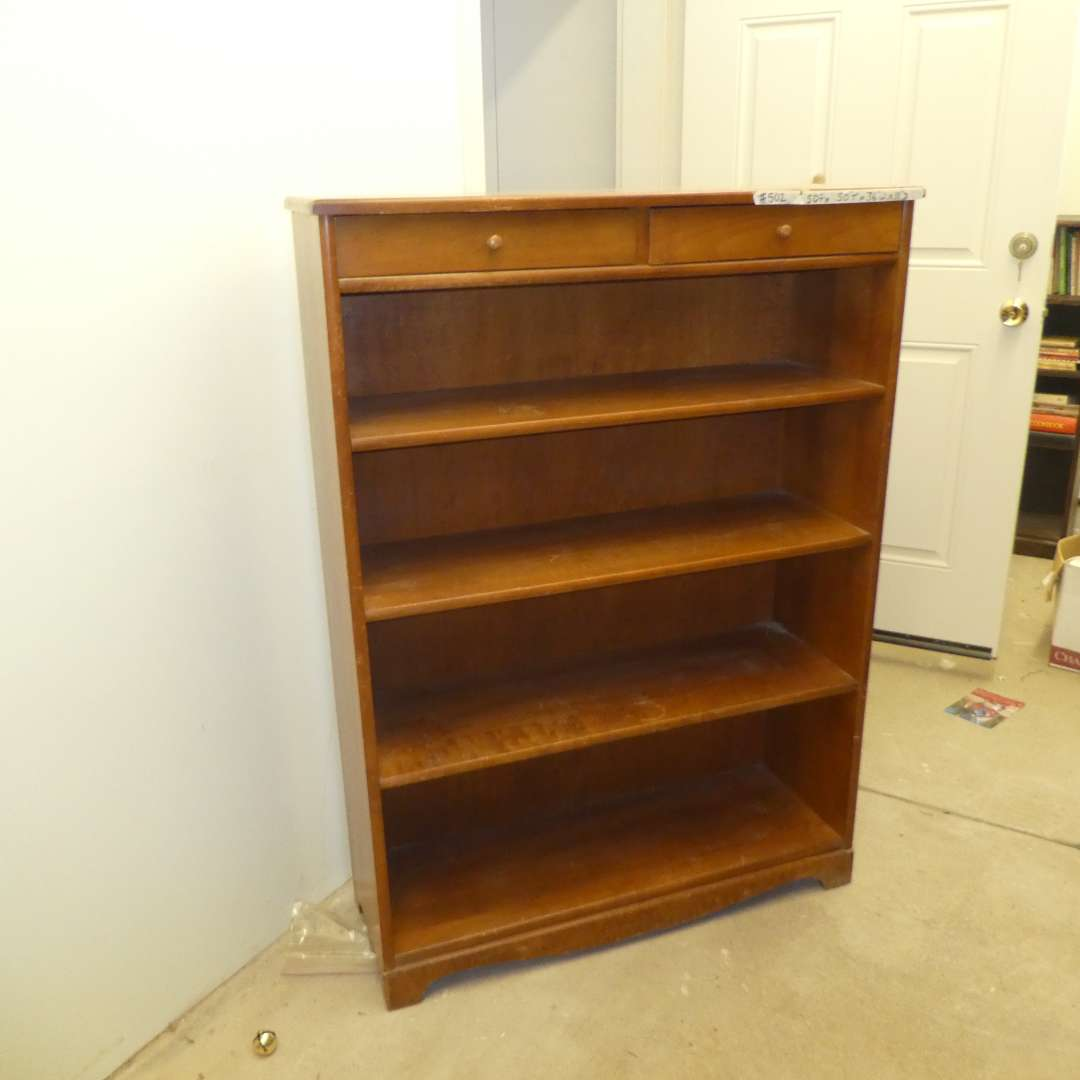 Lot # 502  - Small Book Shelf w/ Two Top Drawers (main image)