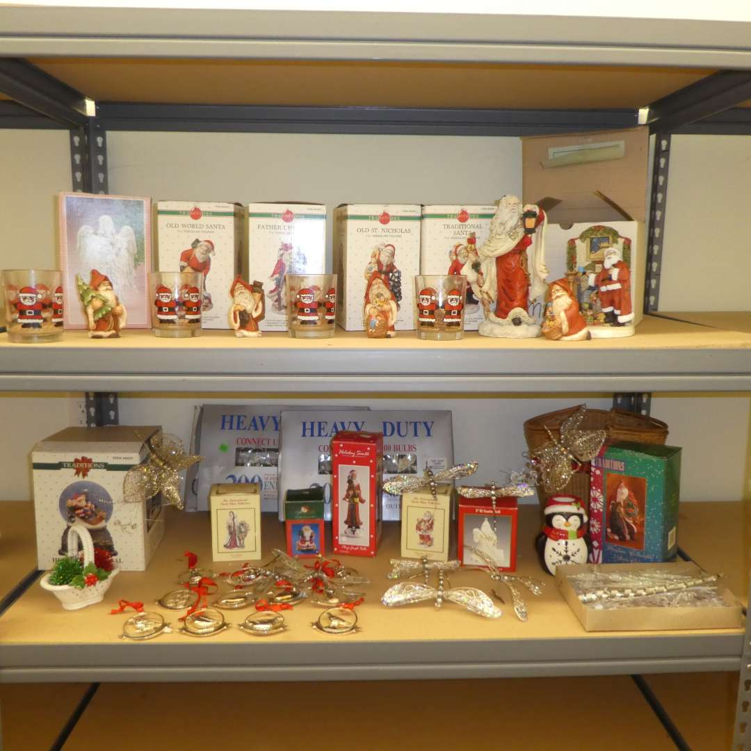 Lot # 503  - Christmas Lot- Traditions Porcelain Figurines, Ornaments, Snow Globe and More  (main image)