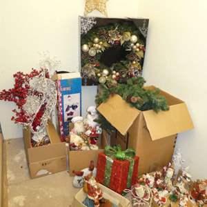 Lot # 504  - Large Christmas Lot- 2Ft. Wreathe, Garland, Large Table Top Santas, Santa Figurines and More!