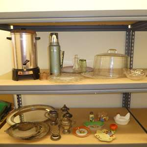 Lot # 506  - Variety Lot- Vintage Coffee Percolator, Serving Platers, Stanley Insulated Thermos and Other Vintage Dishes