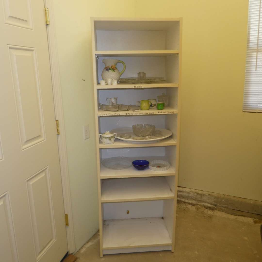Lot # 508  - White Shelf (Particle Board) w/ Assorted Dishes and Platers  (main image)