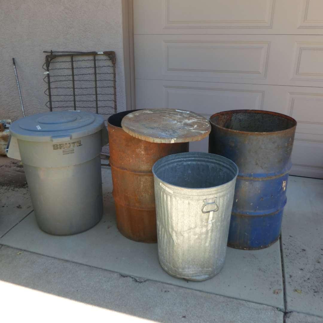 Lot # 513  - Rubbermaid Trash Can w/ Lid, Galvanized Metal Trash Can and 2 Burn Barrels (main image)