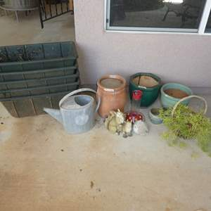 Lot # 416 - Terracotta Water Pot (No Lid), Plastic Planters, Ceramic Pots, Galvanized Watering Can and More