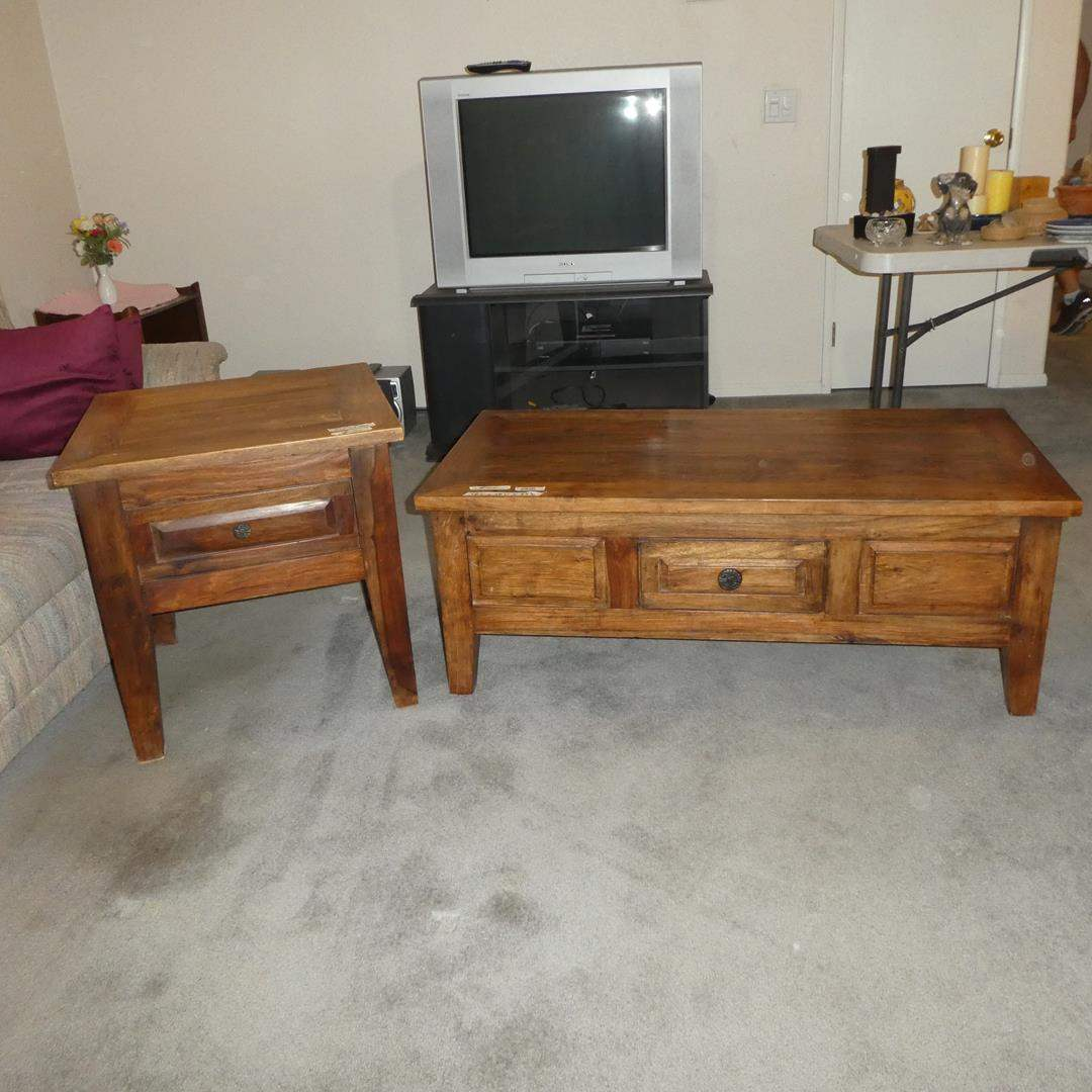 Lot # 104 - Solid Wood Coffee Table w/Drawer & Matching End Table w/Drawer (main image)
