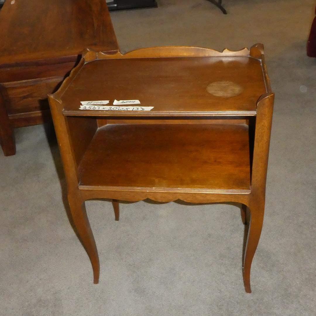 Lot # 106 - Antique Wooden Side Table w/Shelf