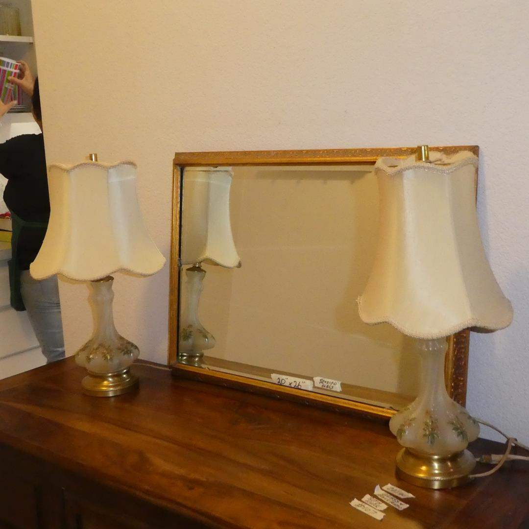 Lot # 107 - Vintage Pair Hand Painted Glass Dresser Lamps & Framed Beveled Glass Wall Mirror