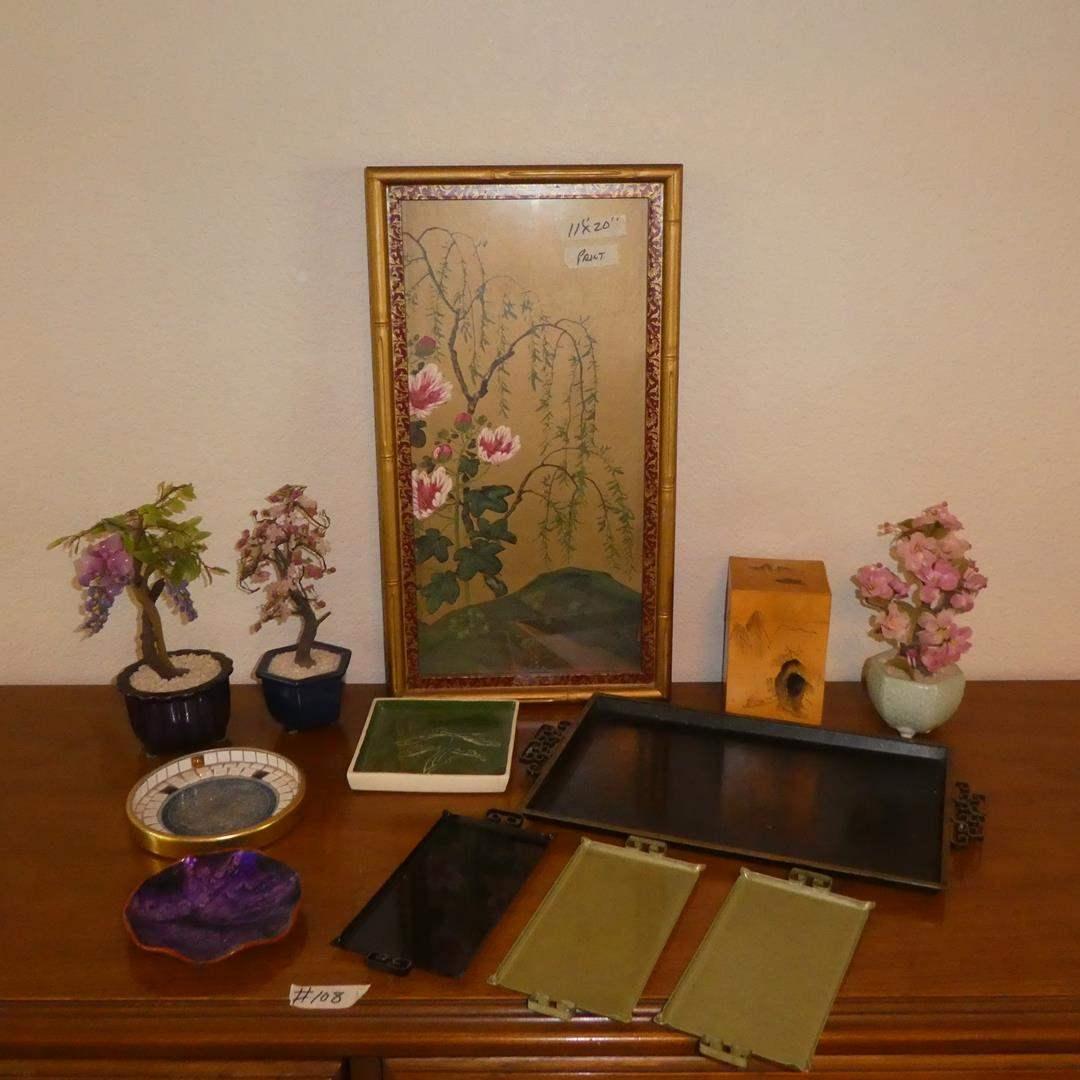 Lot # 108 - Three Vintage Oriental Jade Bonsai Trees, Framed Oriental Print & Metal Trays