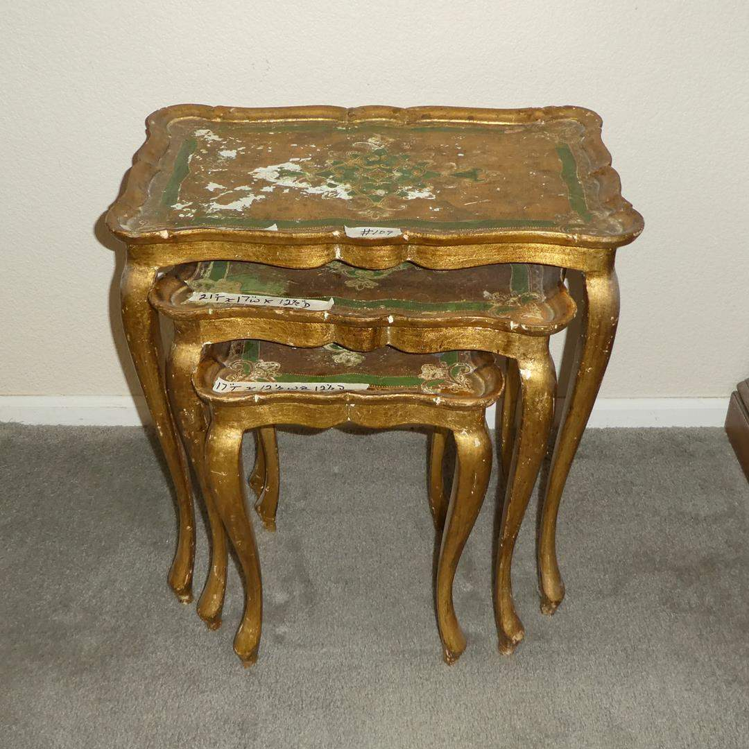 Lot # 109 - Vintage Italian Florentine Nesting Tables - Set of 3