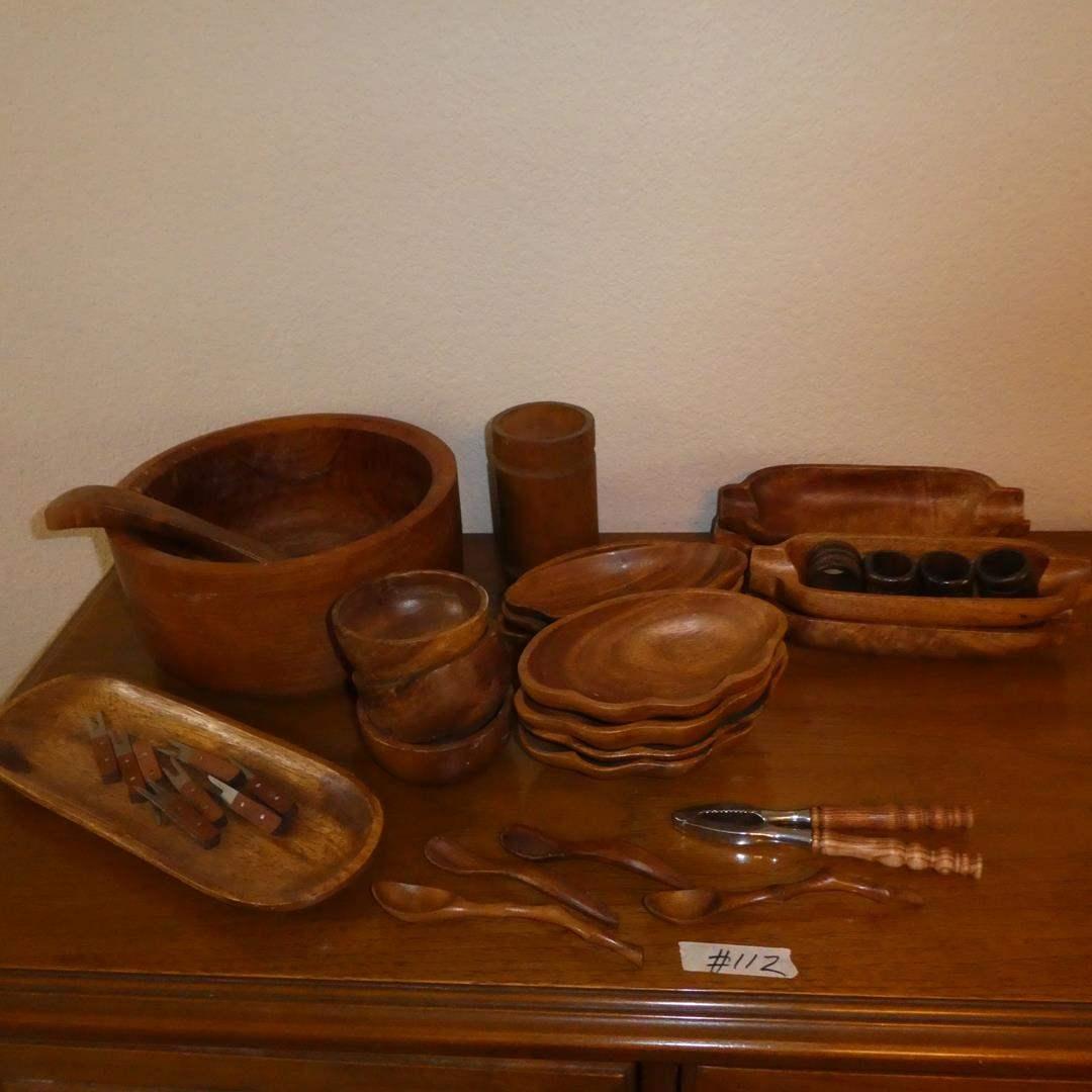 Lot # 112 - Vintage Teak Salad Bowl, Serving Bowls & More (main image)