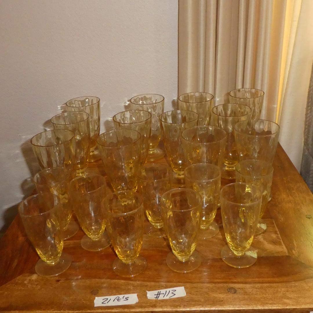 Lot # 113 - Vintage Eldorado Amber Glassware Hazel Altas Gold Amber Dots Drinking Glasses - 21 Pieces (main image)