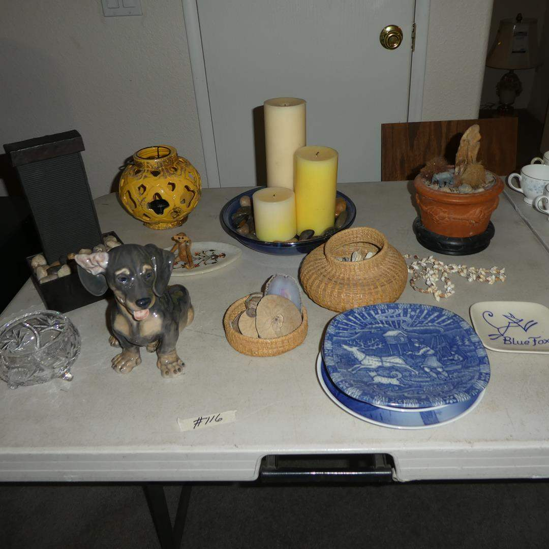 Lot # 116 - Royal Copenhagen Dachshund Puppy Figurine #856 - Lauritz Jensen, Pine Needle Basket & Collectible Plates (main image)