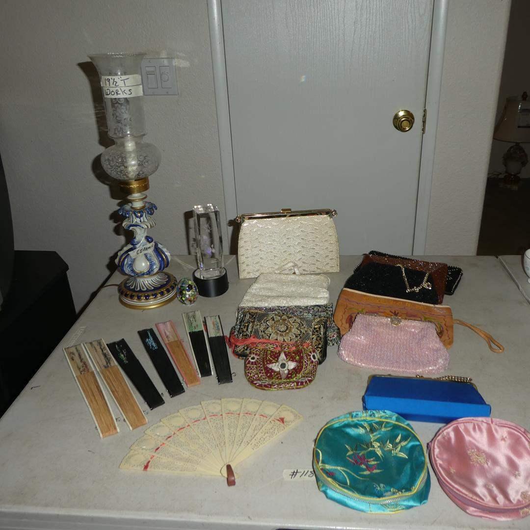 Lot # 118 - Beautiful Vintage Ceramic Dresser Lamp, Signed Glass Paperweight, Vintage Purses & Oriental Fans (main image)
