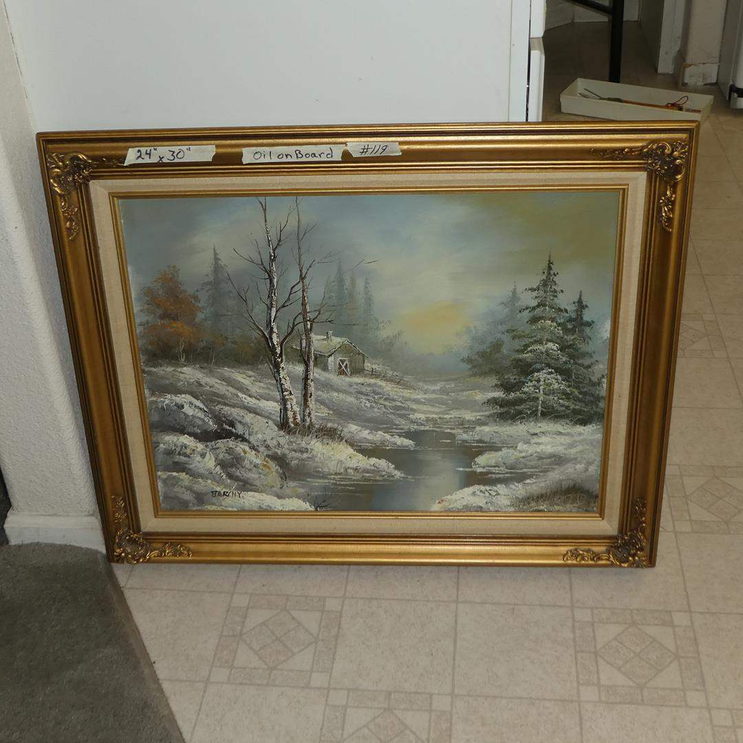 """Lot # 119 - Large Beautifully Framed Vintage Oil on Board """"Winter Dawn"""" by Starchy"""