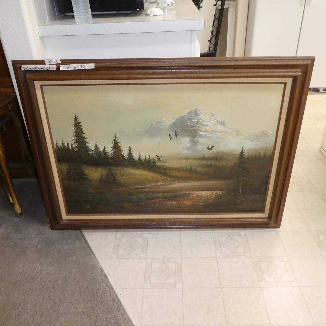 Lot # 120 - Large Framed Vintage Oil on Canvas Flying Geese Painting by Lucas