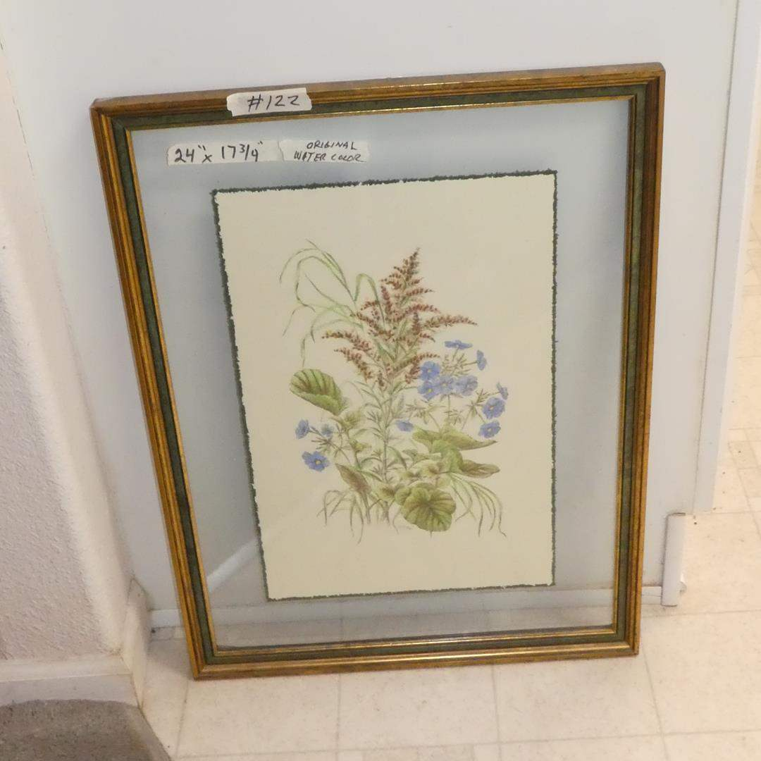 """Lot # 122 - Watercolor Painting """"Florals"""" by H. Ryan Custom Framed for Travalini Furn.  (main image)"""