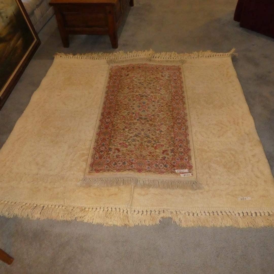 Lot # 123 - Karastan Ivory Kirman Wool Area Rug & Pair Karastan Alexel Pentelic Marble Wool Area Rugs