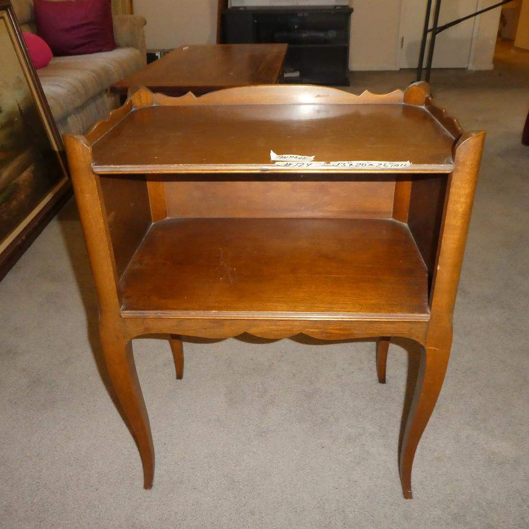 Lot # 124 - Antique Wooden Side Table w/Shelf