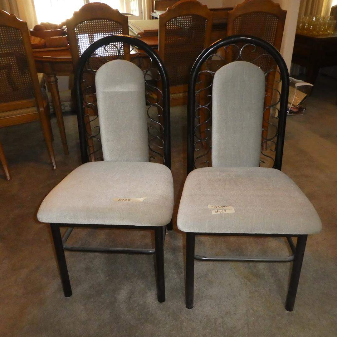 Lot # 125 - Pair Douglas Furniture Metal Framed Upholstered Accent Chairs (main image)