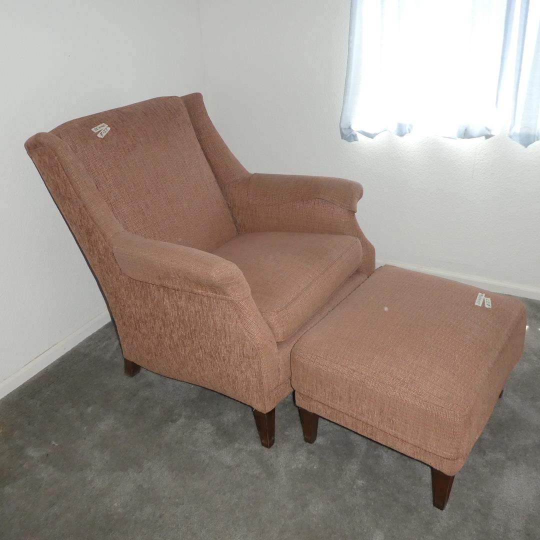 Lot # 127 - Vintage Mauve Upholstered Arm Chair & Matching Ottoman