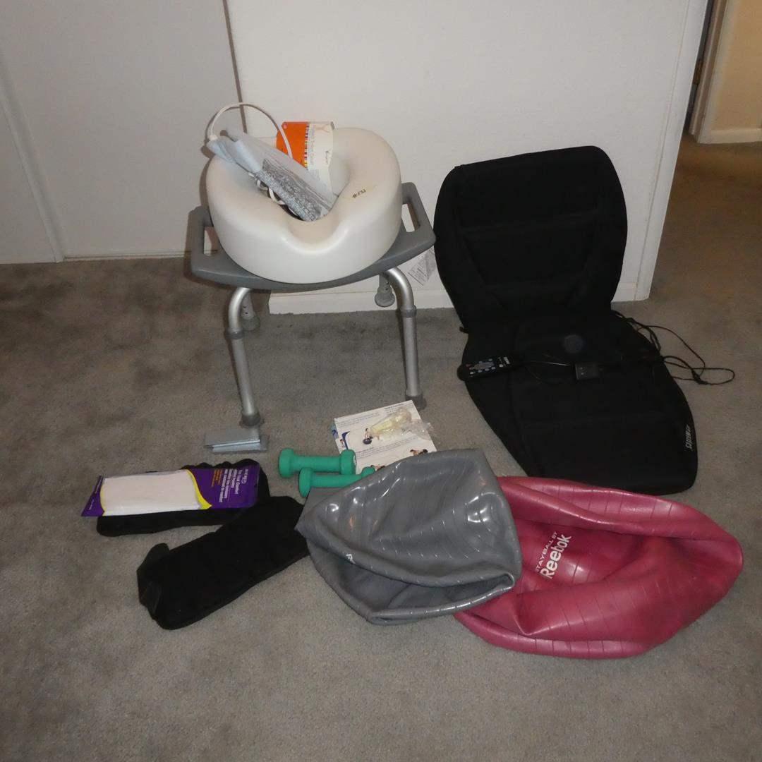 Lot # 131 - HoMedics Chair Pad Heater Massager, Reebok Balls, Weights, Raised Toilet Seat & Bath Chair