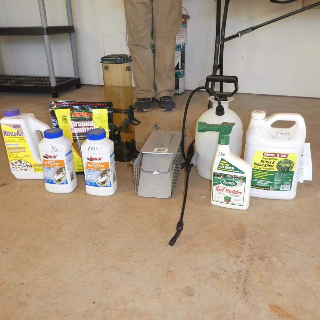 Lot # 139 - Animal Repellents, Small Metal Trap, Bird Feeder & Small Sprayer (main image)