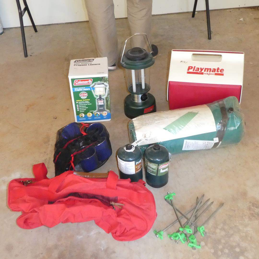 Lot # 141 - Coleman Lanterns, Ice Chest, Self Inflating Air Mattress, Bag & New Camping Dishes (Set of 4) (main image)