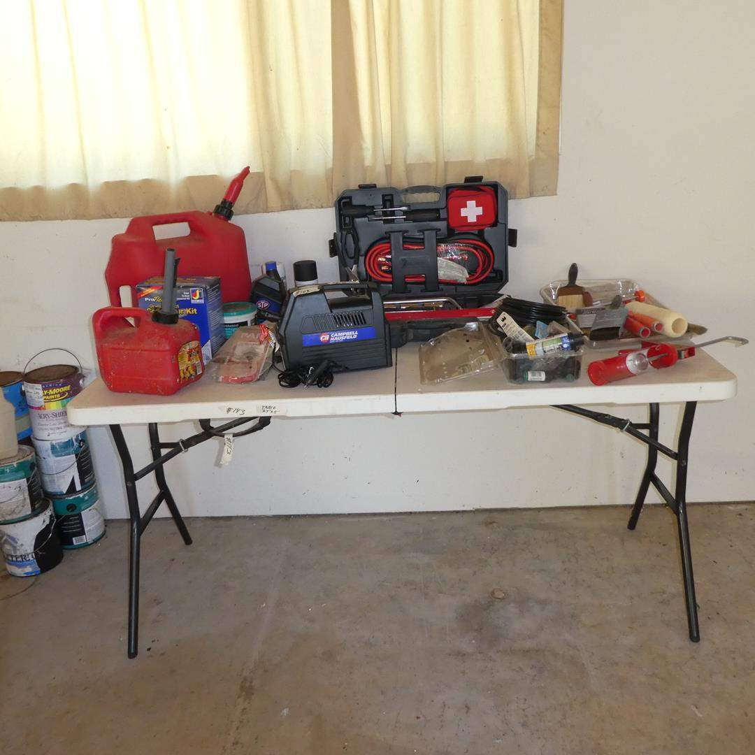 Lot # 143 - Plastic Folding Table, Gas Can, Campbell Hausfeld Compressor For Tire Inflation, Emergency Roadside Kit & More