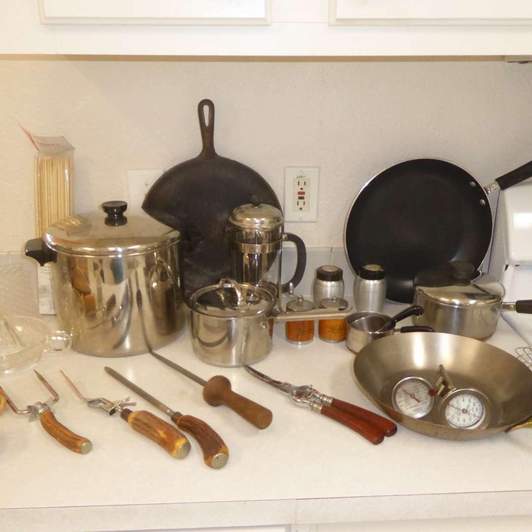 Lot # 2 - Cast Iron Griddle, Pots, Pans , Glass French Press & Serving Utensils