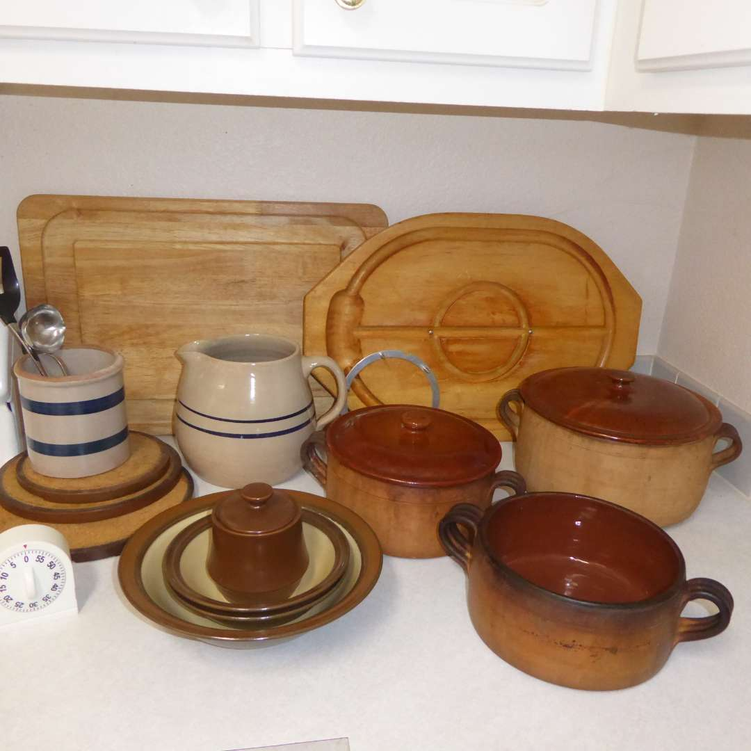 Lot # 3 - Vintage Vallauris Clay Pots, Stoneware Pitcher & Small Crock & Cutting Boards