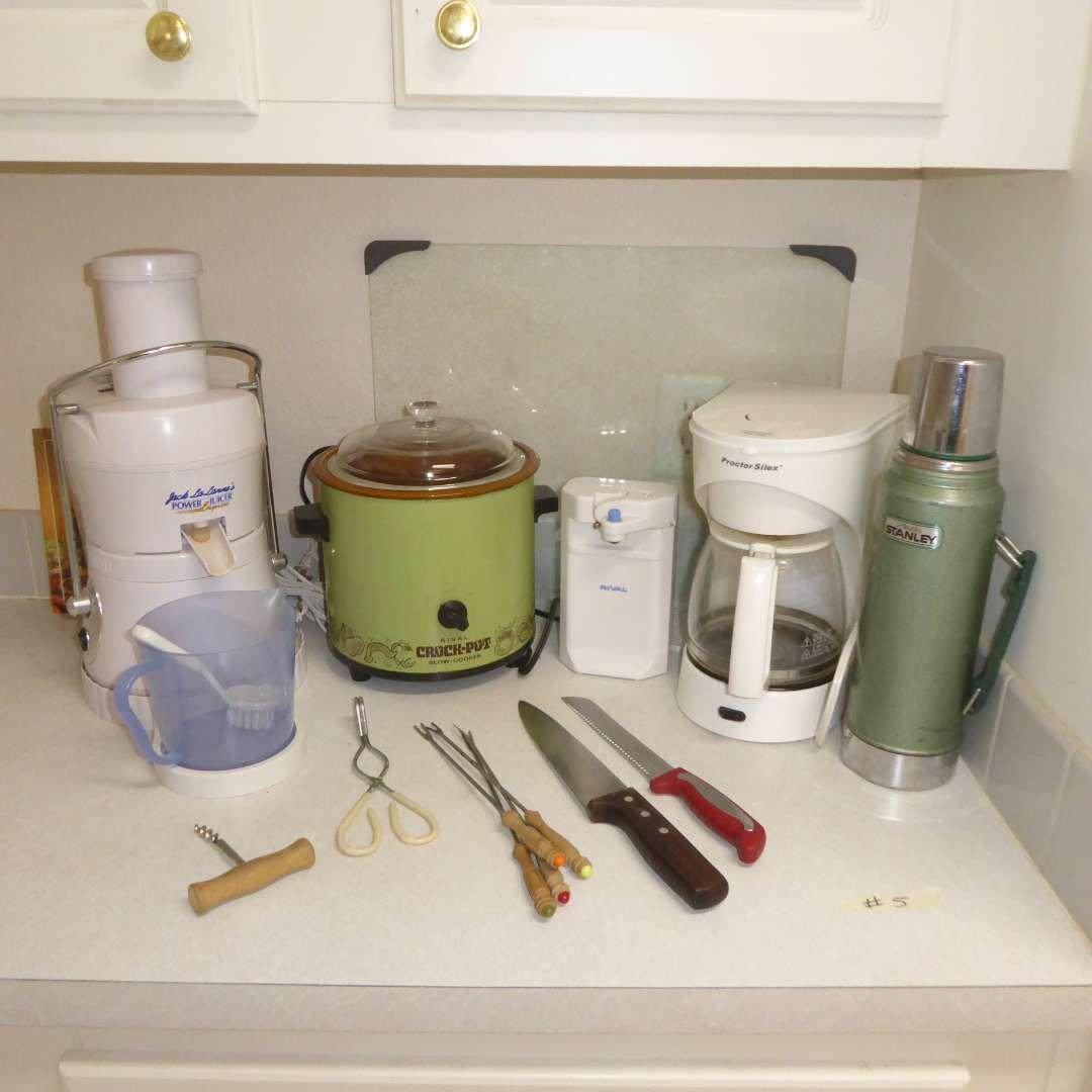 Lot # 5 - Jack LaLane's Power Juicer Express, Vintage Crock Pot, Stanley Thermos & Coffee Pot (main image)