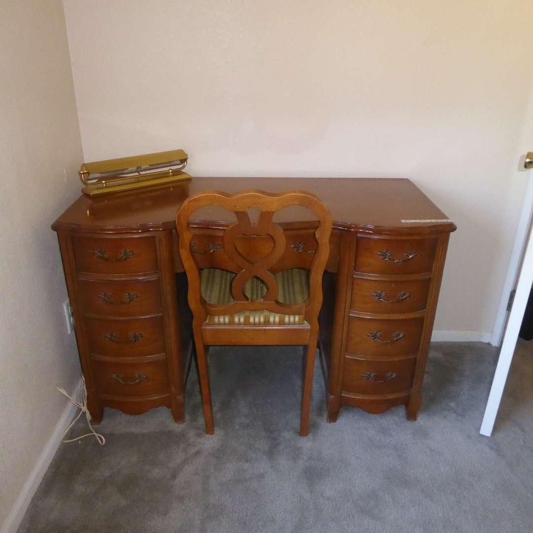 "Lot # 11 - Small Vintage Wooden ""Bassett Furniture"" Desk, Brass Lamp & Wooden Chair   (main image)"