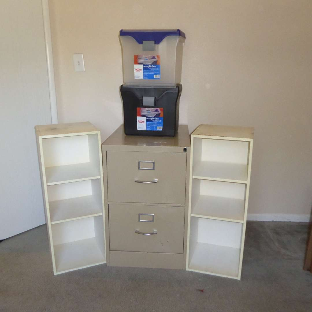 Lot # 12 - Metal Filing Cabinet, Two white Shelves & Two Plastic Filing Boxes