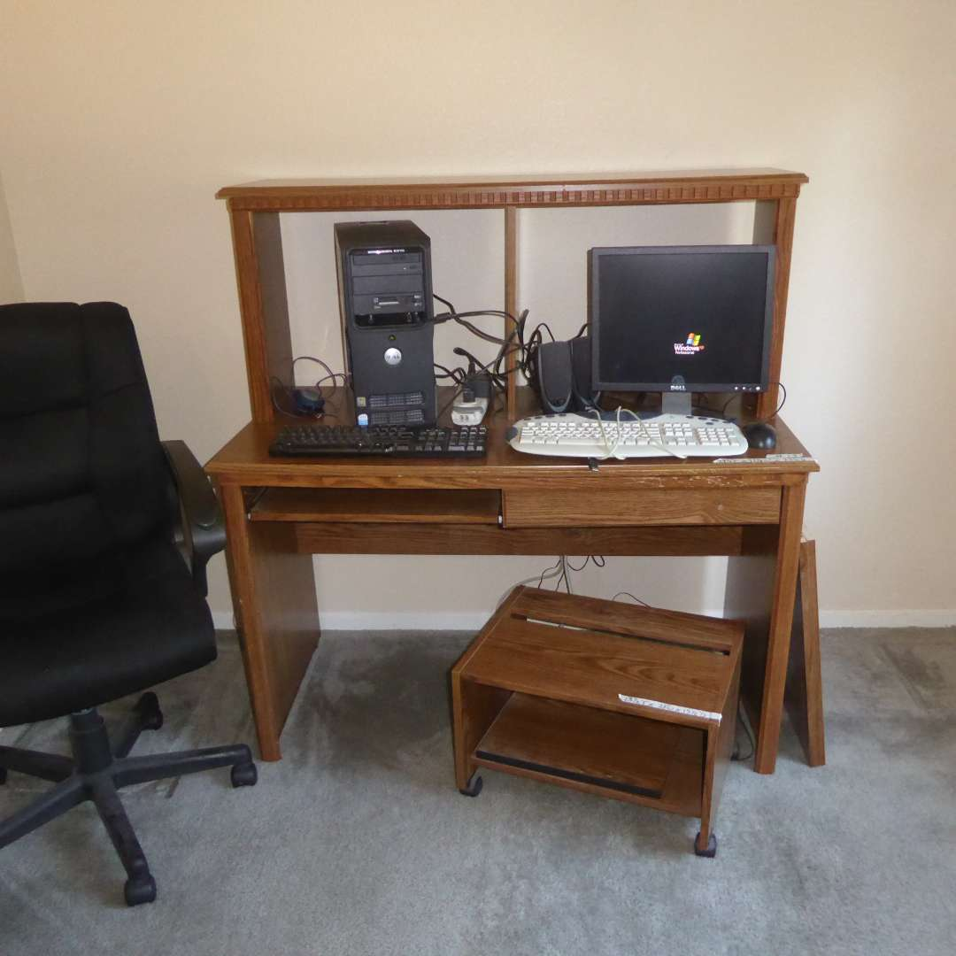 Lot # 13 - Dell Computer W/Windows XP, Keyboards, Mouse, Desk & Office Chair (main image)
