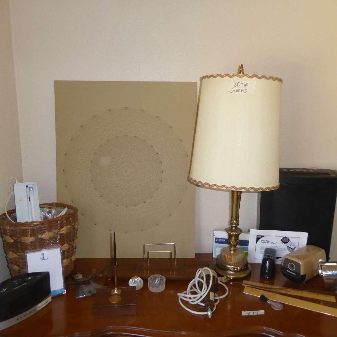 Lot # 14 - Marble & Brass Lamp, Unframed Print, Pencil Sharpeners & Paper Shredder