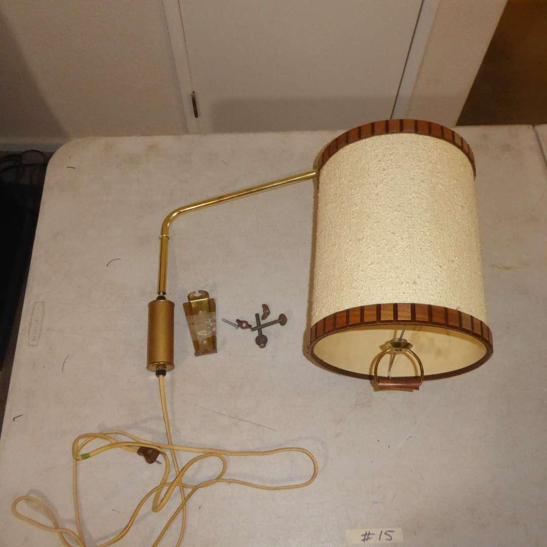 Lot # 15 - Adorable Midcentury Hanging Lamp W/Wood Trim  (main image)