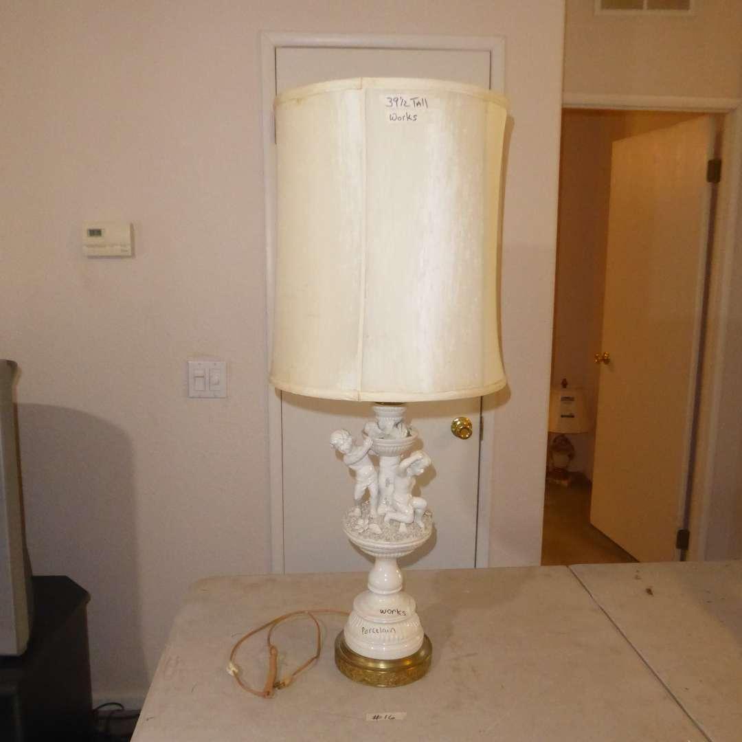 Lot # 16 - Porcelain Children & Flower Table Lamp  (main image)