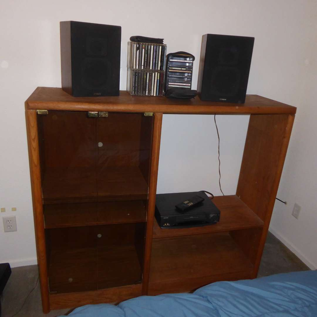 Lot # 17 - Cabinet Shelving Unit, Fisher Speakers, Cd's & VCR